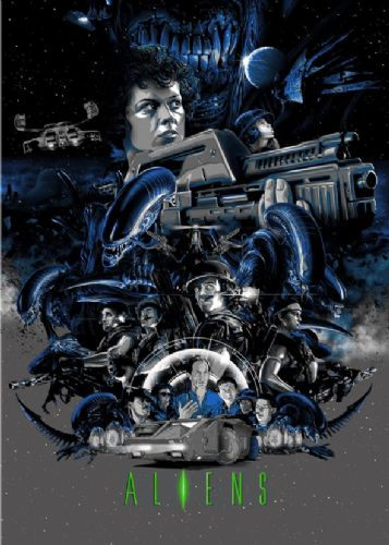1980's Movie - ALIENS - POSTER ART canvas print - self adhesive poster - photo print